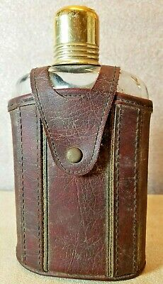 Vintage Leather Clad Glass Flask Bottle Brass Shot Glass Cap