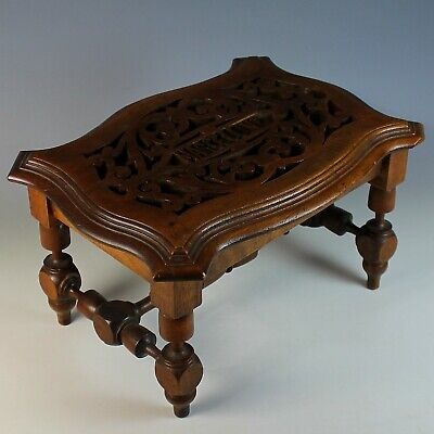Antique Hand Carved Wood Bench. Footstool, Very Unique