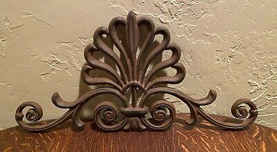 """Cast Iron Wall Art Ornate Floral Design Large Heavy 19.5"""" x 9""""  Brown Topper"""