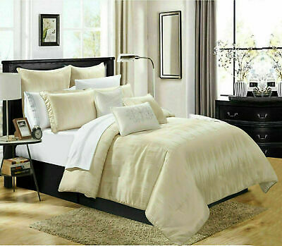 Jacquard Quilted Bedspread Bed Throw King Bedding Set Pillow Cases Erika Cream