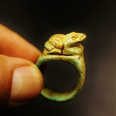 Rare Antique Stone Ring Heqet Frog Goddess Amulet of Ancient Egyptian