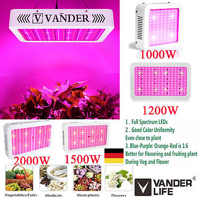VANDER 2 Set 2000W LED Pflanzenlampe Vollspektrum EVG Bloom Pflanzen Grow Leucht