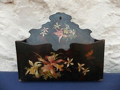 Papier Mache Victorian Wall Mounted Letter Rack Hand Painted Design