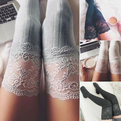 AU Women Cable Knit Extra Long Boot Socks Over Knee Thigh High Warm Stocking