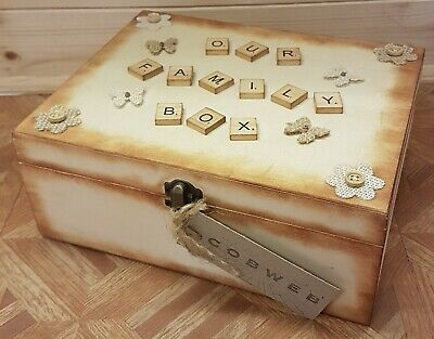 Hand Crafted Our Family Box Keepsake Memory Storage Handmade Gift