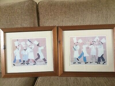 A Pair Of wooden Framed Prints Wall Art. 2x Chefs In The Kitchen. Cooks