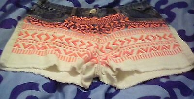 Next Girls Denim Shorts dip dyed embroidered Age 15 Years Brand New With Tags
