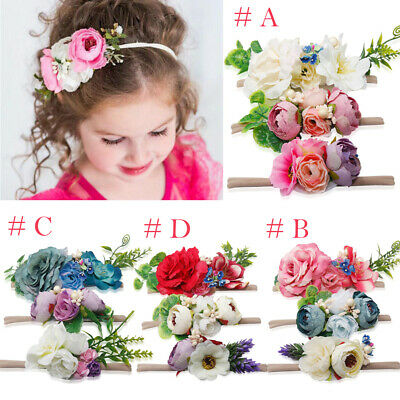 AU Beauty 3Pcs Baby Girls Infant Toddler Flower Headband Hair Band Accessories