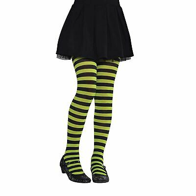 Girls 2-4 Years Green Black Striped Book Day Tights Halloween Witch Fancy Dress