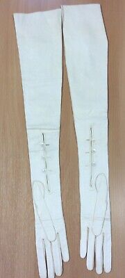 1960s Extra Long Ivory Kid Leather Gloves S
