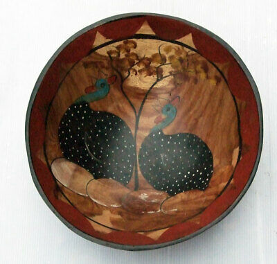 Nice Old Folk Art Turned and Hand Painted Wooden Bowl Depicting Guinea Fowl