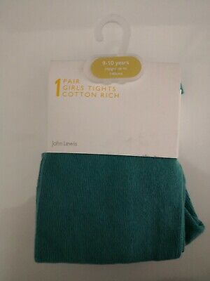 BNWT John Lewis girls winter tights 9-10 yrs height up to 140cm green turquoise