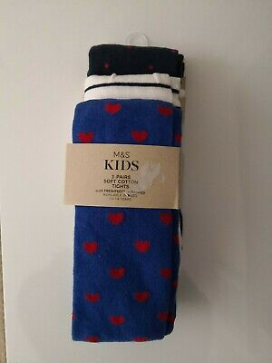 Marks & Spencer M&S Kids 3 Pairs Soft Cotton Tights age 9-10 Red White Blue