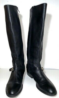 "LAUREN RALPH LAUREN Black Leather Mila Ankle Strap Knee High1.5"" Heel Boots 9M"