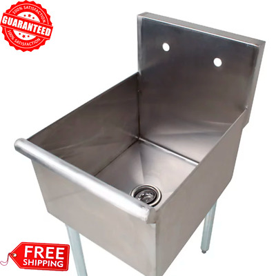 """18"""" 1-Compartment Stainless Steel Restaurant Commercial Kitchen Utility Sink USA"""