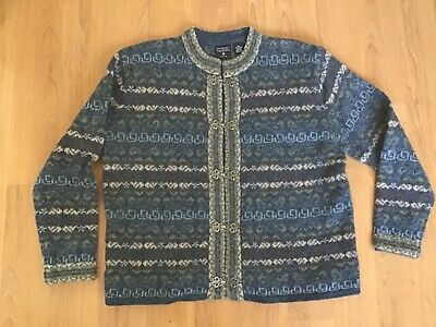 NORDIC DESIGN Blue Brown Wool Cardigan Sweater size PS Silver Toggle