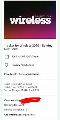 Wireless Festival Sunday 5th July Ticket 2020
