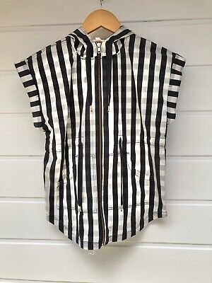 COUNTRY ROAD Kids Black White Check Hooded Short Sleeve Long Top - Size 6-7