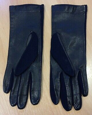 Unworn 1970s Navy Blue Leather And Jersey Gloves S-M