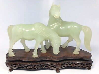 Antique Chinese Hand-Carved Jade Horses With Custom Wood Base
