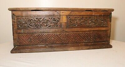 LARGE antique 1700's hand carved wood brass Folk Art box casket storage trunk