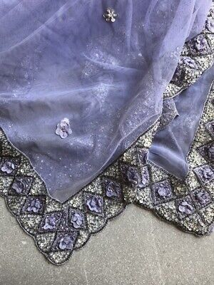 Vintage Sari Scarf Shawl Bead Beaded Fancy Wrap India Boho Hippie AS IS