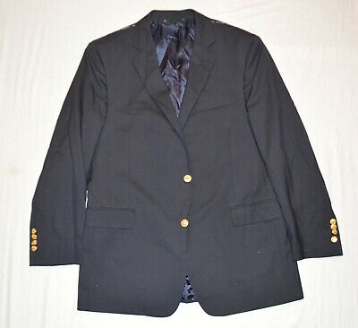 New Brooks Brothers Men's 42R Italy Navy Blue Brass Button Sportcoat Suit Jacket