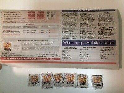 The Sun Holidays £9.50 ALL 7 Newspaper Tokens & Booking Form