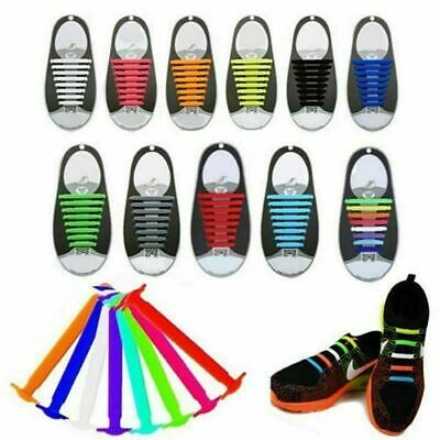 Boys Elastic Silicone Shoes Laces Lazy No Tie Shoelaces 16Pc Sneakers For Childs