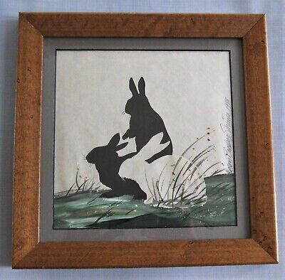 Original ALISON SHRIVER Silhouette*Bunny Rabbits in Grass*SIGNED*1988*Framed