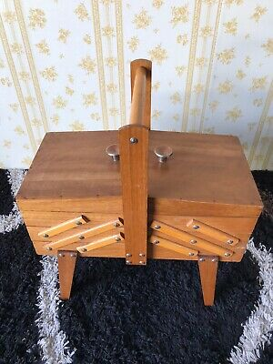 Vintage Wooden Sewing Box, 3 Tier Cantilever Folding Pick Up Only.