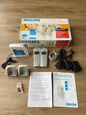 Philips Cordless VOIP Phone Model VOIP 3211 In Box Dual Handsets