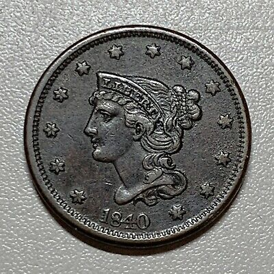 1840 Braided Hair Large Cent  Large Date   Xf