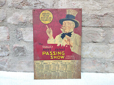 1936s Vintage Rare Passing Show Cigarette Advertisement Tin Sign Board Calendar