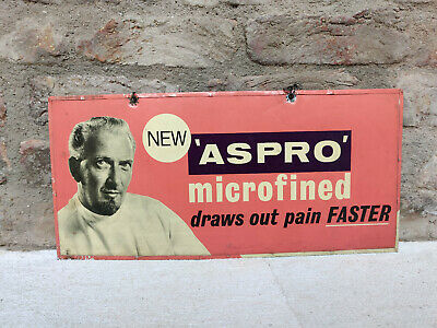 Vintage Aspro Microfined Draws Out Pain Faster Double Side Metal Sign Board 1950