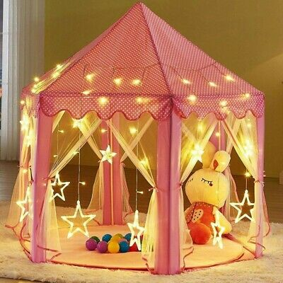 Girls Pink Princess Castle Cute Playhouse Children Kids Play Tent Outdoor Toy US