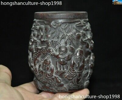 Marked Chinese Dynasty Ox horn Carved Pine tree Old Man Drum shape Box Boxes
