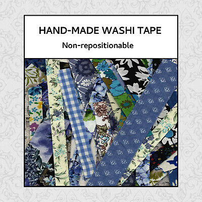 2m Hand-made FABRIC / PAPER WASHI TAPE. Non-repositionable. Journals, Cards,