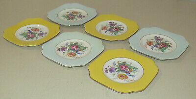 Lot of 6 Colclough bone china plates - small - dessert, cake, floral, England