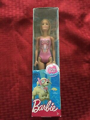 New Barbie Beach Doll SWIMMING BARBIE WATER PLAY MATTEL BLONDE PINK New TR