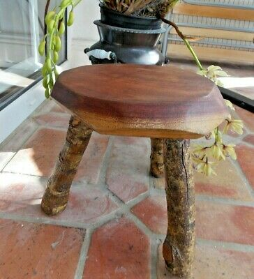 Rustic 3 Legged Milking Style Stool Plant Stand Chunky Top Log Legs Vintage