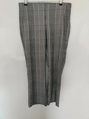 ZARA Women Trousers Black White Houndstooth Check Ankle Office Blogger L W32 L27