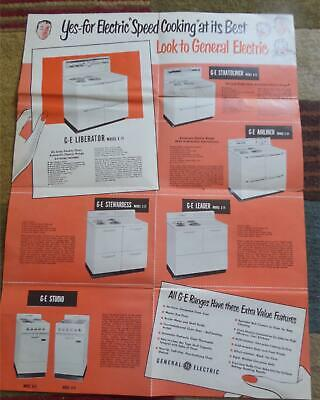 Vintage 1950s General Electric GE Electric Stoves Advertisng Fold-out Brochure