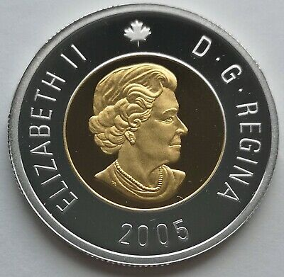 ** Canada  Toonie  2005  ** Proof  Sterling  Silver  With  24Kt  Gold  Plated **
