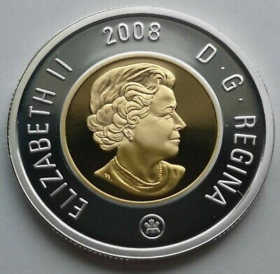 ** Canada  Toonie  2008  ** Proof  Sterling  Silver  With  24Kt  Gold  Plated **