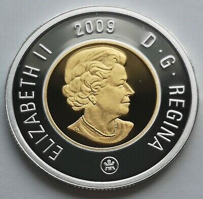 ** Canada  Toonie  2009  ** Proof  Sterling  Silver  With  24Kt  Gold  Plated **