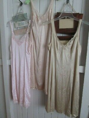 """FULL Slips x 3-Size 12. 1 """"HICKORY"""" Pink; VGC.LACE Trim Hems.  Knee length."""