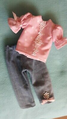 "Top /& Pants  fit 14/"" Wellie Wishers Glitter Girls Doll Clothes TKCT Aqua flowers"
