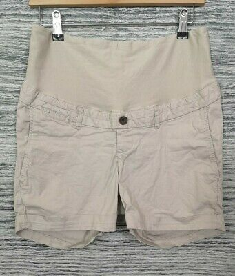 H&M Mama Beige Over Bump Maternity Shorts Size 10