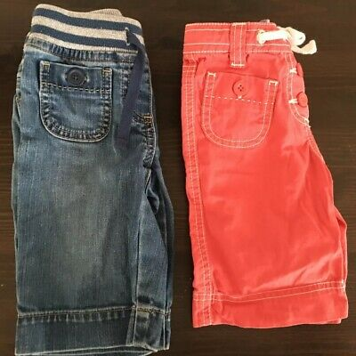 Mini Boden Girl's Long Shorts Size 2 Lot of 2  Denim Elastic Waist Coral Pink Wh